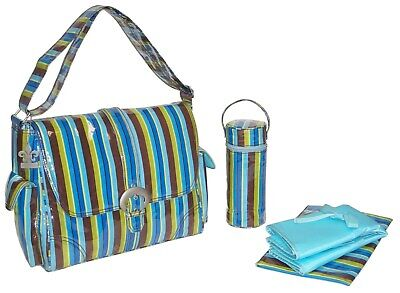 Kalencom Laminated Buckle Changing Bag - Monkey Stripes Blue