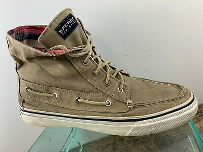 Sperry Top Sider Brown Canvas Casual Lace Up Hi Top Sneakers Shoes Mens 11M