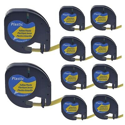 """10PK Plastic Label compatible for DYMO Letra Tag LT91332 Black on Yellow 1/2"""""""