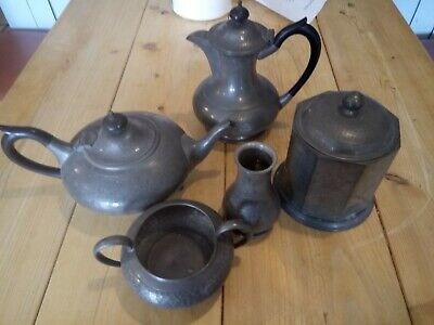 Vintage TW&CO Manor Period Pewter Planished Hammered Caddy coffee/tea pot etc
