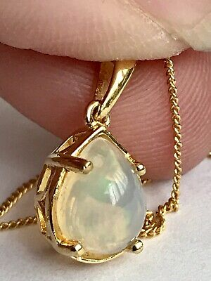 Ethiopian Welo Opal Pendant Chain 14k Gold On Sterling Silver 1.000cts