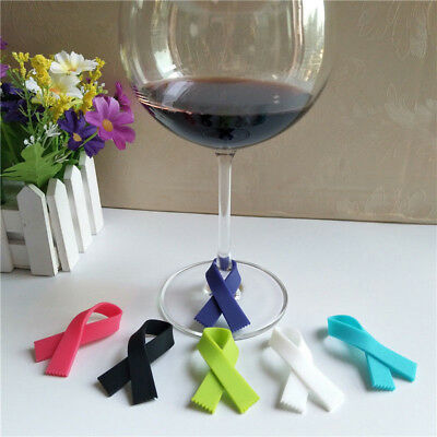 6PCS Cute Cups Wine Glass Drink Silicone Label Tag Markers Bottle Charms FAAU