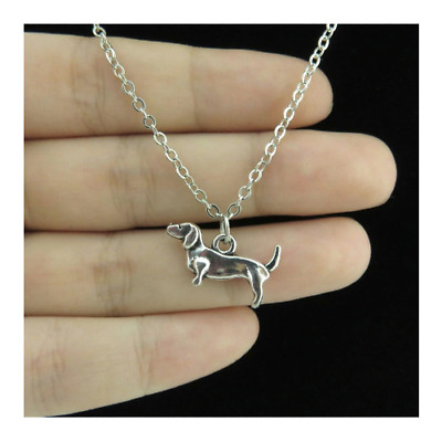 Dachshund Sausage Dog Necklace Silver Color Waging Tail Ladies Gift Cute Puppy