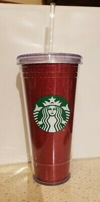NEW Starbucks 2018 Holiday RED Glitter Cold Cup Tumbler 20 oz