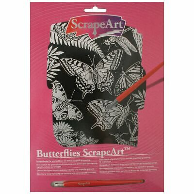 Butterflies Scrape Art - Scratch Art Paper - Craft Kit - Engraving Art