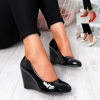 Womens Ladies Slip On Court Pumps High Wedge Heels Patent Office Work Shoes
