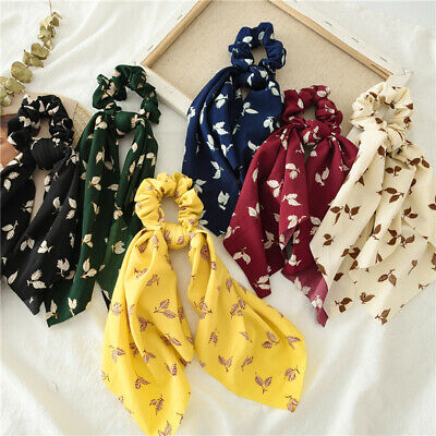 Lady Leopard Snake Floral Dot Streamers Scrunchies Hair Scarf  Bow Hair Rope