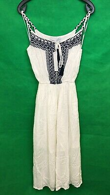 Red Herring Debenhams Ladies Dress White/Navy Crinkle Size 8 New with tags