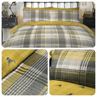 Dreams & Drapes CONNOLLY CHECK Ochre Yellow 100% Brushed Cotton Duvet Cover Set