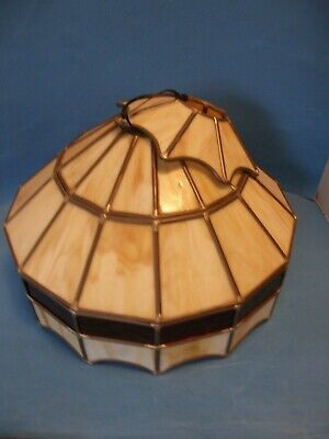 """Vintage Stained Glass Leaded Glass Slag Lamp Light Fixture Shade 16"""""""
