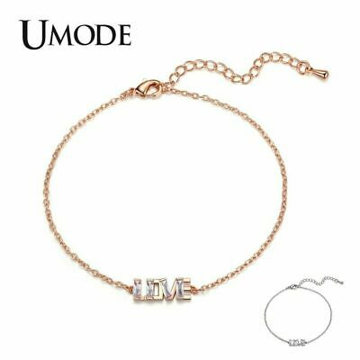 UMODE Luxury Brand Love Letter Fashion Cubic Zirconia Bracelets for Women Charm