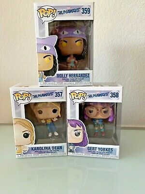 Funko Pop Marvel Runaways Lot 3  Karolina #357 Gert #358 Molly #359 Bobble Head