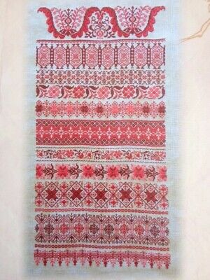 CROSS STITCH CHART COUNTED EMBROIDERY Pattern French RUBANS ROUGE Red Ribbons