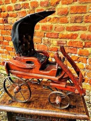 19thC English Antique Scratch-Built Model of a Horse Drawn Carriage Childs Toy
