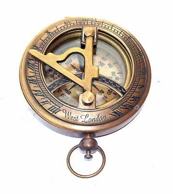 Nautical Brass Sundial Push Button Compass Handmade Marine Pocket Compass Decor