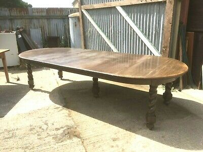 Large Oak Barley Twist Extending Dining Table 12 Seater