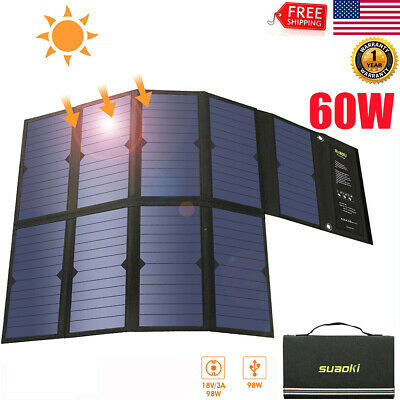 60W Portable Foldable Solar Power Bank Dual USB Battery Charger For Laptop Phone