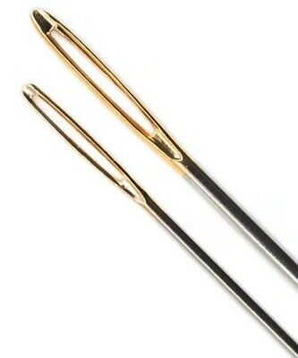 PONY Blunt KNITTERS Sewing Darning Tapestry Needles pk2 Yarn WOOL Large Gold Eye