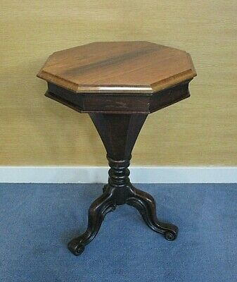 Antique Mid Victorian Walnut Trumpet Sewing Table
