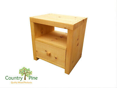 Chunky Cabinet Side Table Lamp Table - Solid Pine Timber   Rustic