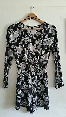 Ladies girls H&M Divided black white grey floral long sleeve playsuit, size 8