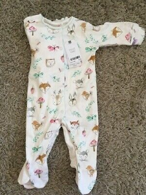 NEXT 3 Pack Baby Girl Forest 0-3 Months Sleepsuits Babygrows Pyjamas NEW BNWT