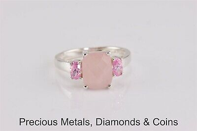 Sterling Silver Pink Faceted Chalcedony Solitaire w/ Accents Ring 925 Sz: 8