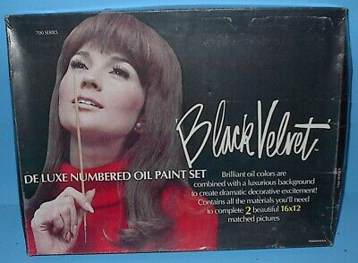 VINTAGE PAINT BY NUMBER PBN BLACK VELVET TWO SILKY HORSES IN BOX listing others
