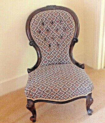 Antique Victorian Ladies Nursing Chair in Carved Mahogany