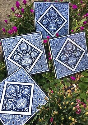 "4 Reclaimed Scarce / Rare Blue & White Circa 1860 Antique Minton 6x6"" Tiles"