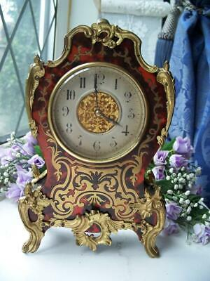 WONDERFUL FRENCH BRASS & SHELL INLAID BOULLE ANTIQUE MANTLE CLOCK c1890