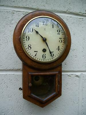 LOVELY SMALL OAK ANTIQUE PENDULUM WALL CLOCK BY H.A.C. c1920