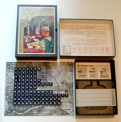 1964 VINTAGE 3M Bookshelf Games QUINTO Numbers Board Game COMPLETE 2-4 Players