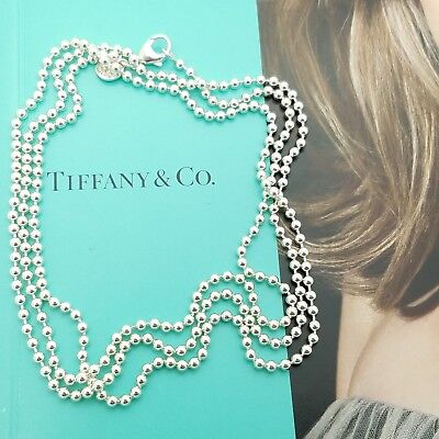 Tiffany & Co. Sterling Silver Large Ball Bead Beaded Toilet Chain 36' Necklace