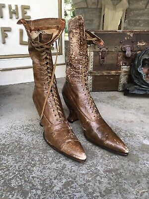 Antique Brown Leather Victorian Boots Shabby Chic