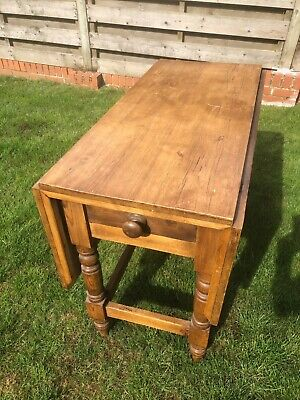 Antique Pine Drop Leaf Table with single drawer