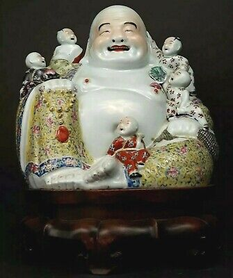 A Beautiful Antique Chinese Qing Dynasty Porcelain Buddha Statue w/ Wooden Stand