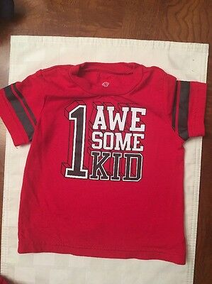 Infant Boys Okie Dokie Red Graphic Short Sleeve Tee-Shirt- Size 6 Months