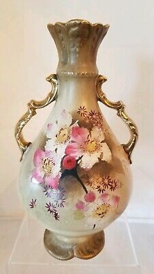 Antique Royal Tudor SF & Co. Hand Painted Victorian Vase - England - Pink Flower