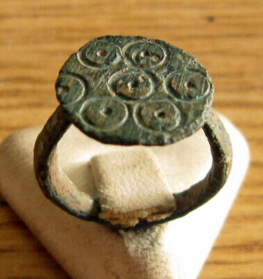 Beautiful Post-Medieval Bronze Ring With Engraving On The Top # 494