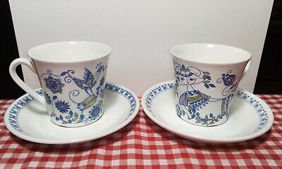 lot 2 Figgjo Lotte Cup & Saucer Turi Design Handpainted Silkscreen Norway