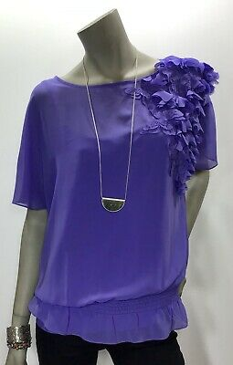 Ted Baker Size 4 Lavender 2 Piece Blouse Cami Set Sheet Butterfly Accent Top