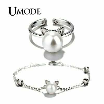Cute Cat Ear Pearl Adjustable Rings Chain Bracelets Jewelry Sets For Kids Girls