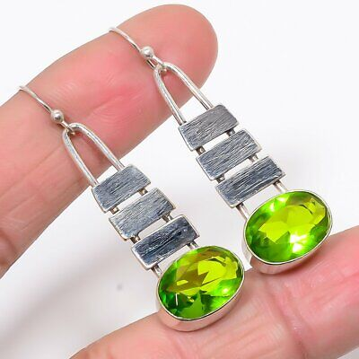 "Matte Finish Burmese Peridot 925 Sterling Silver Antique Look Earring 1.97"" (5)"
