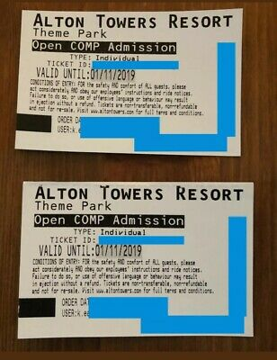 2 x ALTON TOWERS THEME PARK TICKETS - OPEN DATED - VALID UNTIL 1 NOVEMBER 2019