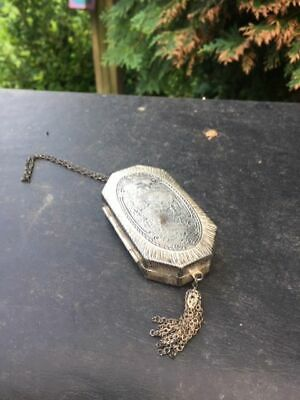 1920's Imperial Plate Double Compact Mirror Victorian Chain Compact - # L
