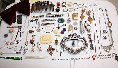 Large Antique/vintage Jewelry, Accessories And Odds & Ends Lot With 65 + Items