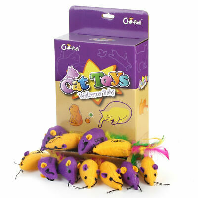 """18 Pack 2.6"""" Catnip Cat Toys Mice with Feather Soft Mouse Kitten Interactive Toy"""