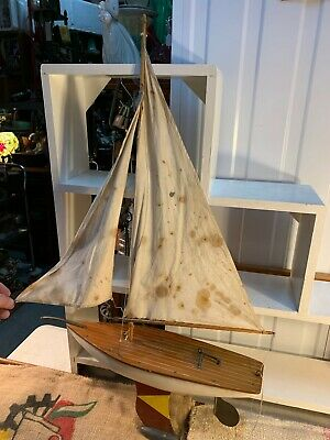 Vintage Australian 1950's Collector's Model Timber & Brass Pond Yacht 58cm Long