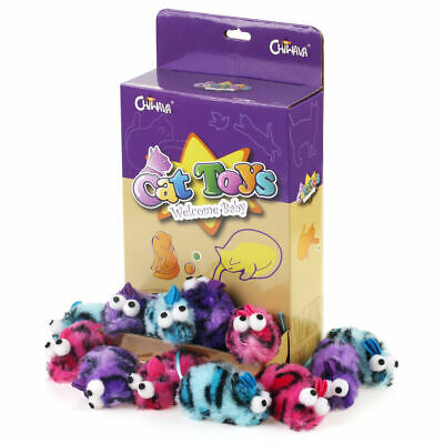 """18 Pack 2.7"""" Catnip Soft Cat Toys Mice Leopard Plush Mouse Funny Kitten Toy Game"""